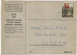 SUIZA CORREO MILITAR FELDPOSTKDO INF REGT 11 SOLDADO - Cartas