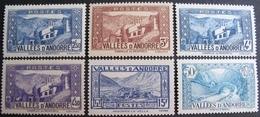 FD/2445 - 1937 - ANDORRE - N°87 à 92 NEUFS** - Cote : 16,50 € - Andorre Français