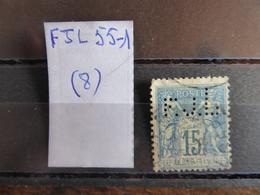 FRANCE  Perfin  Perforé FJL 55-1  Indice 8 - Perforés