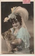 Artiste Femme Miss FORGETH Avec Lionceau - Couleur : Bleu - Photo Moreau & Kivatizky - Artistes