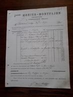 Ancienne Facture. Vergeze. J.Monier - Montfajon - Food