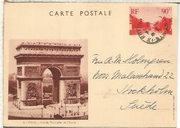 FRANCIA ENTERO POSTAL ARCO DEL TRIUNFO ARQUITECTURA ARC DE TRIOMPHE PARIS - Monumentos