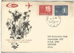 SUECIA 1964 PRIMER VUELO CORONADO JET A CHILE AL DORSO MAT SANTIAGO - Aéreo