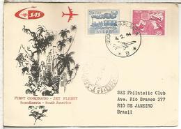 SUECIA 1964 PRIMER VUELO CORONADO JET A RIO DE JANEIRO BRASIL CON LLEGADA - Aéreo