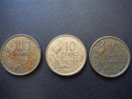3x 10 Francs Guiraud 1951 - 1951B - 1955 - France