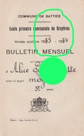 BATTICE Ecole Communale De Bruyères 1933 /34 Bulletin De Lambrette Alice - Diplômes & Bulletins Scolaires