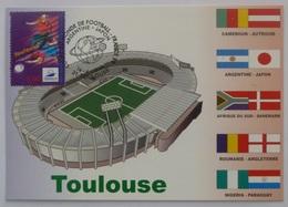 TOULOUSE (31) - Stade, Carte Postale Avec Timbre France 98 Toulouse (football) Et Cachet Match Argentine - Japon - Football