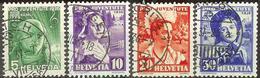Schweiz Suisse 1936: Trachten & H.G.Nägeli 1936 Zu 77-80 Mi 306-309 Yv 298-301 Mit BAHNPOST-o Etc.  (Zu CHF 48.00) - Pro Juventute