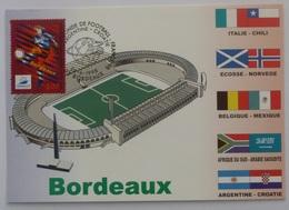 BORDEAUX (33) - Stade, Carte Postale Avec Timbre France 98 Bordeaux (football), Cachet Match Argentine - Croatie - Football