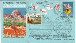 Aerogramme Australien Posté à La Base Dumont D'Urville, Navire MS Polarbjorn.Antarctic Expedition 1986-1987. RARE - Terres Australes Et Antarctiques Françaises (TAAF)