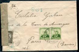 ESPAGNE - N° 508 (2) + 522 / LETTRE DE SABADELL LE 9*9/1939 POUR PARIS AVEC CENSURE - TB - 1931-50 Lettres