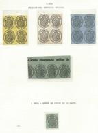 SEVICIO NACIONAL, 3 Bloques, Tira Y Sello De 1 Onza Error De Color Papel - 1850-68 Königreich: Isabella II.