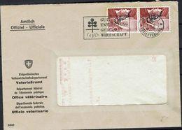 Schweiz Suisse 1952: Officiel No. 81 Im Paar Mit O BERN 1.X.1952 An Das Veterinäramt Office Vétérinaire (Inhalt Contenu) - Service