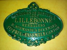 PLAQUE ÉMAILLÉE DE CONCOURS De BESTIAUX 1996 LILLEBONNE HERBAGERS 1 Er PRIX NORMANDE Et DIVERSES - Ironwork