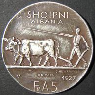 "Albanian Silver 5 Franga Ari ""Prova"" (trial Piece) Coin, 1927, VF; KM# 8.1 - Albanie"