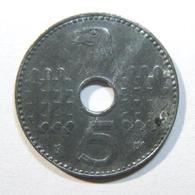 WWII Nazi Germany Holed Military Issue 5pf 1941A Key Date Zinc Coin EF-AU KM# 98 - Albanie