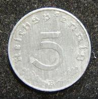 WWII Nazi Germany 5pf 1943B Zinc Coin KN 100, Rarest Third Reich Zinc Coin; AU - Albanie