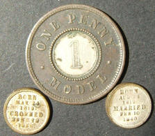Great Britain Bimetallic One Penny Model Bimetallic & 2x Victoria/Albert Tokens - Albanie