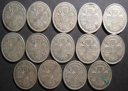 Great Britain 14x Silver Florins (2 Shillings), 1928-1936 Series (KM# 834) In VF - Albanie