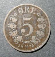 Norway/Norwegian 5 Ore 1875 Key Date Bronze Coin, F-VF - Albanie
