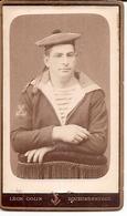 Photo CDV Cartonnée Militaire Marin - Marine - Phot. Léon COLIN à Equeurdreville / Cherbourg - Krieg, Militär