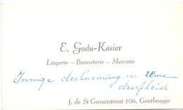 Visitekaartje - Carte Visite - Lingerie E. Godu - Kasier - Gentbrugge - Cartes De Visite