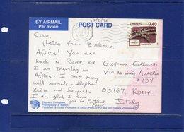##(DAN194)-Zimbabwe 1998- $7,40 Fossil Stamp On Elephants Postcard From Victoria Falls To Rome-Italy - Zimbabwe (1980-...)