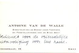 Visitekaartje - Carte Visite - Directeur Dienst Toerisme Gent - Antoine Van De Walle - Cartes De Visite