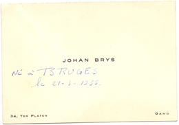 Visitekaartje - Carte Visite - Johan Brys - Gand Gent - Cartes De Visite