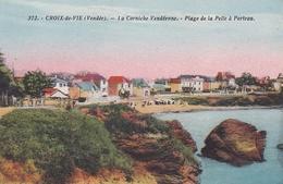 CPA.. CROIX DE VIE.LA CORNICHE VENDEENNE. PLAGE DE LA PELLE A PORTEAU - Saint Gilles Croix De Vie