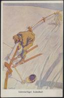 Ansichtskarte Sport Skifahren Künstler Humor Österreich Nach Zerbst 1922. - Cartes Postales