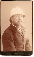 Photo CDV Cartonnée Homme Avec Casque Colonial - Photo ROSTAING à Grenoble - Guerre, Militaire