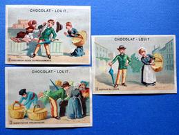 3 CHROMOS.CHOCOLAT LOUIT....SCÈNES DE MARCHE....ÉCHOPPE ...PANIER...POISSON....VOLEUR - Louit