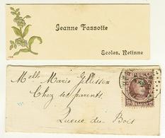 """Carte De Visite Sous Enveloppe QUEUE Du BOIS -  ECOLE De RETINNE """" Jeanne FASSOTTE """" - Cartes De Visite"""