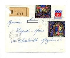 Lettre Recommandee Aouste Sur Vitrail Paris - Marcophilie (Lettres)