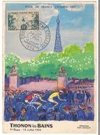 Carte Tour De France 1955 ( 7ème étappe Zurich - Thonon - Les - Bains ) - Radsport