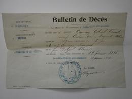 34 Villeneuve Les Béziers. Lot De 3 Bulletins De Décès, Délivrés En 1914 (pour Années 1893, 1895, 1898) - Décès