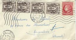 25 Févr. 1947- Petite Enveloppe De Paris Affr. Mixte 1,40 F   Tarif Des Imprimés  Pour Angoulême - Postmark Collection (Covers)