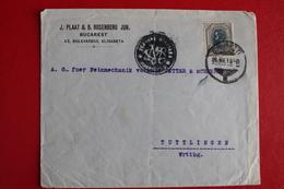 1919      ENVELOPPE  COMPLETE  DE  BUCAREST  POUR  TUTTTLINGEN  EN  ALLEMAGNE   CACHET  DE  CENSURE - 1881-1918: Charles Ier