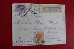 1899      ENVELOPPE  RECOMMANDEE    COMPLETE  DE  BUCAREST  POUR  LA  FRANCE - 1881-1918: Charles Ier