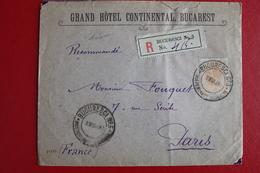 1897      ENVELOPPE  RECOMMANDEE    COMPLETE  DE  BUCAREST  POUR  LA  FRANCE - 1881-1918: Charles Ier