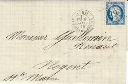 1874-lettre De PARIS / Bt RICHARD-LENOIR Affr. N°60 Oblit. étoile 19 - Marcophilie (Lettres)
