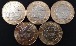 MEXICO 2018 NAVY PLAN $20 BIMETALLIC Coin, LOT OF 5 COINS All Uncirculated, Nice Coins - Mexico
