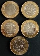 MEXICO 2015-2018 $20 BIMETALLIC Coin Collection, 5 DIFFERENT COINS All Uncirculated, Nice Coins - Mexico