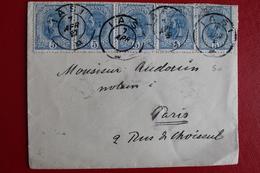 1897      ENVELOPPE    COMPLETE  DE  BUCAREST  POUR  LA  FRANCE - 1881-1918: Charles Ier