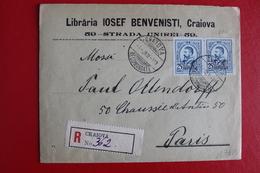1913      ENVELOPPE    RECOMMANDEE  COMPLETE  DE  CRAIOVA  POUR   PARIS - 1881-1918: Charles Ier