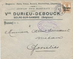 787/28 - Enveloppe TP Germania MONTIGNIES LE TILLEUL 1917 - Entete SOLRE Sur SAMBRE , Vve Durieu - WW I
