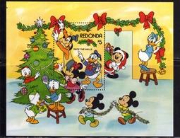 REDONDA 1983 WALT DISNEY CHRISTMAS TREE ALBERO DI NATALE NOEL WEIHNACHTEN BLOCK SHEET BLOCCO FOGLIETTO MNH - Altri - America