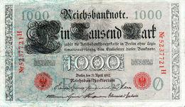 Billet Allemand 1000 Mark Le 21-4-1910 - 7 Chiffres Rouges - En T T B - - [ 2] 1871-1918 : German Empire