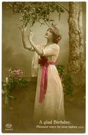 A GLAD BIRTHDAY : PRETTY GIRL WITH RIBBONS (HAND-COLOURED) / ADDRESS & POSTMARK - HEATHFIELD, SANDY CROSS - Birthday